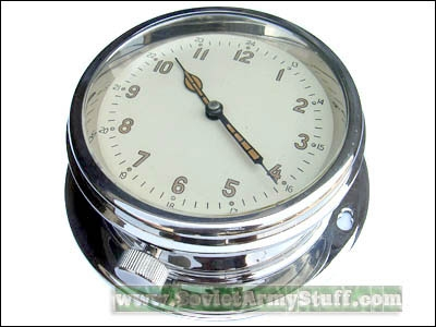 Soviet Navy Ship / Submarine Clock CHROME