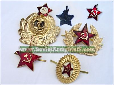 Soviet Military Badge Set Navy, Army, Ushanka Badges - 6 pc