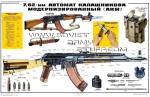 AKM Kalashnikov Rifle Soviet Army Instructive Poster