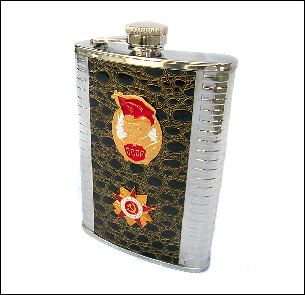 Stainless Steel Flask with Soviet Soldier Russian Army Military Badge